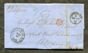 p523 - GB 1861 Folded Cover / Folded Letter SFL to USA. Railroad. Packet Africa