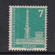 Germany  Berlin   #9N122  MH  1956  definitive set 7pf  no top inscription