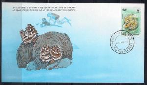 Montserrat FDC card Sc 432 Cousteau Society Plume Worm L67