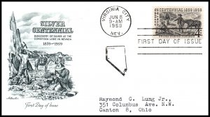 US 1130 Silver Centennial Artmaster Typed FDC