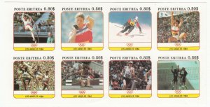 Cinderellas; Eritrea, Los Angeles Olympics 1984 Imperf MInisheet MNH, 8 x 80c