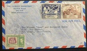 1949 Belize British Honduras Catholic Presbyterian Cover To San Diego CA USA