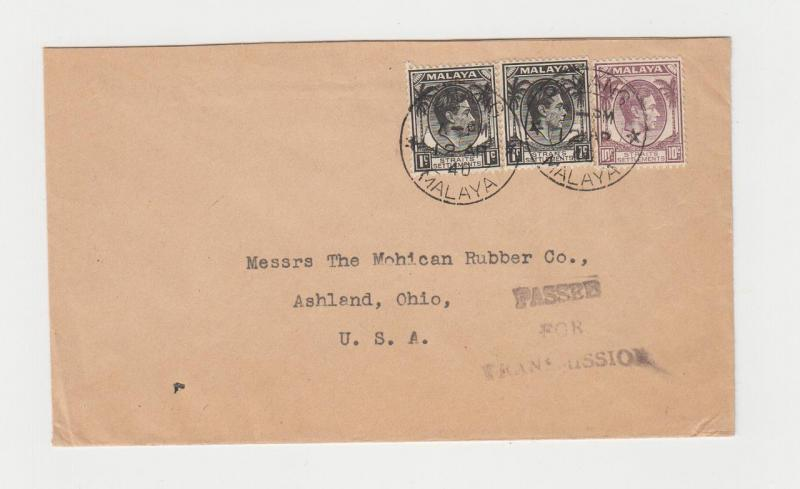 MALAYA PENANG-USA 1940, CENSOR COVER, 12c RATED (SEE BELOW)