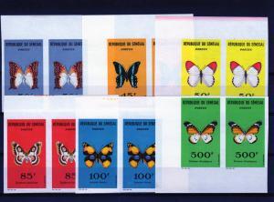 Senegal 1963  Sc# 221/226  BUTTERFLIES Set (6) PAIRS IMPERFORATED MNH