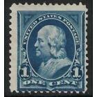 Scott 264- MH- Franklin, 1c Bureau Issue, Double Line Watermark, 1895- unused