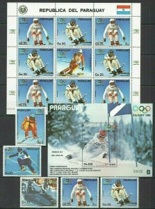 I398 PARAGUAY OLYMPIC GAMES CALGARY 1988 #4111-15+KB+BL411 MICHEL 56 EURO FIX