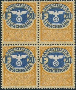 Stamp Germany Revenue Block WWII 3rd Reich Occupation Social Services F20 MNH