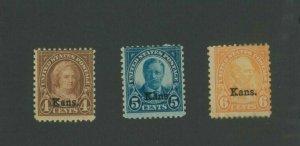 1929 United States Postage Stamps #662-664 Mint Hinged Average Original Gum