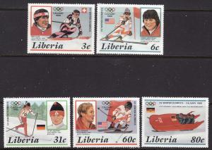 Liberia MNH 1049-53 Calgary Olympics 1988 SCV 5.25