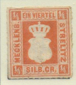 Mecklenburg-Strelitz Stamp Scott #1, Unused, No Gum - Free U.S. Shipping, Fre...
