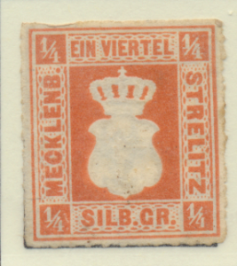 Mecklenburg-Strelitz Stamp Scott #1, Unused, No Gum - Free U.S. Shipping, Fre...
