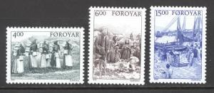 Faroe Islands Sc# 290-292 MNH 1995 4k-15k Early Folk Life