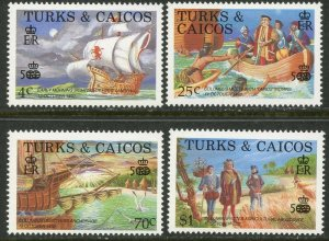 TURKS & CAICOS Sc#734-737 1988 Columbus Discovery of America Complete OG MNH