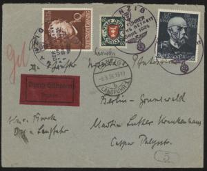 Danzig 238, 239 & 189 on 1939 special delivery cover w/special cancels to Berlin