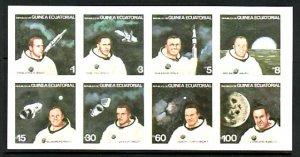 Eq. Guinea, Mi Cat. 1411-1418 B. American Astronauts, IMPERF sheet of 8. ^