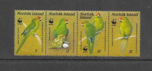 BIRDS - NORFOLK ISLAND #421-PARROTS WWF ISSUE   MNH