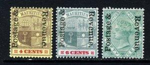 MAURITIUS 1902 POSTAGE & REVENUE Overprints SG 157, SG 158 & SG 161 MINT