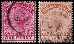 Trinidad Scott 68, 73 (1883-84) Used F, Cat. Value $8.50 M