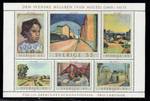 Sweden Sc 821 1969 Agueli Paintings stamp sheet mint NH