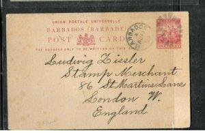 BARBADOS COVER (P2205B)  1894 BRITANNIA 1D PSC SENT TO ENGLAND LONG MSG