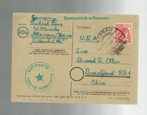1948 Altenau Germany Esperanto Postcard Cover to USA British Zone
