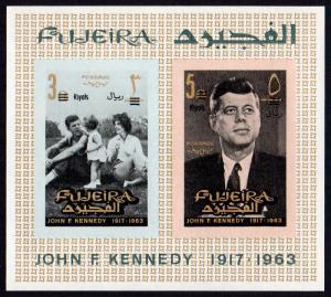 Fujeira Mi Block 5B (#38-39)  mnh - 1966 JFK - John F. Kennedy - imperf