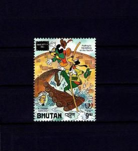 BHUTAN - 1986 - DISNEY - MICKEY - GOOFY - TWAIN - AMERIPEX OVPT - MNH SINGLE!