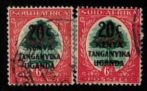 1941, South Africa, Overprinted: KENYA TANGANYIKA UGANDA, 20c/6d (T-9296)