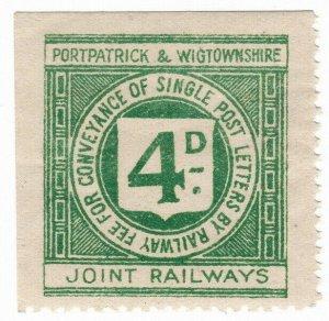 (I.B) Portpatrick & Wigtownshire Joint Railways : Letter Stamp 4d