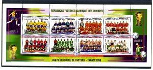 The Comoros 1998 FOOTBALL WORLD CUP FRANCE Sheet Perforated Mint (NH)