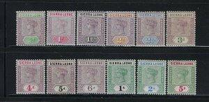SIERRA LEONE SCOTT #34-45 1896-97 VICTORIA WMK 2 -  MINT LIGHT HINGED