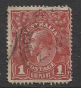Australia - Scott 21 - KGV Head -1914 - Used - Wmk 9 - 1p Stamp