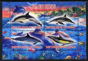 Chad 2013 Dolphins perf sheetlet containing 4 values unmo...