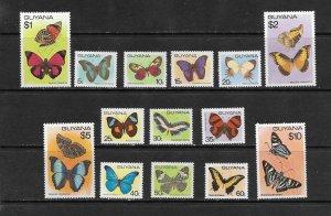BUTTERFLIES - GUYANA #279-89a  VERY  HIGH CATALOG VALUE!   MNH