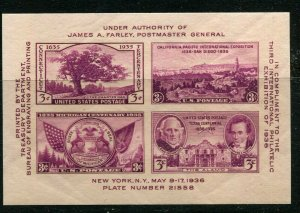 3c TIPEX Mint Never Hinged Souvenir Sheet-Scott #778-Issued 1936