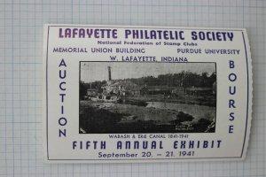 Lafayette IN Philatelic Society Wabash Erie Canal Exhibit Bourse expo Label 1941