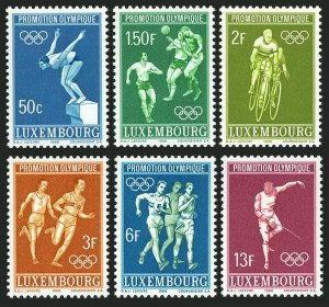 Luxembourg 460-465,MNH.Mi 765-770. Olympics Mexico-1968.Soccer,Bicycling,Fencing