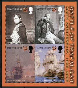 Montserrat 2005 MNH Battle of Trafalgar 200 4v M/S Nelson Napoleon Ships Stamps