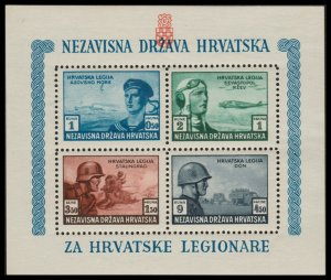 ✔️ CROATIA 1943 - SOLDIERS AVIATION - PERF L11 - SC. MS B37 ** MNH OG [CRB005A]