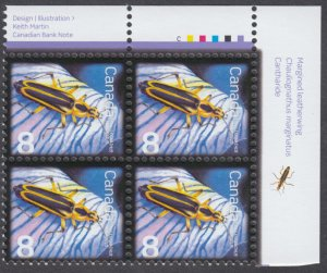 Canada - #2409 Beneficial Insects - Margined Leatherwing Plate Block - MNH