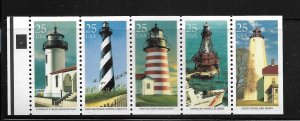UNITED STATES, 2474A, MNH BOOKLET PANE OF 5, LIGHT HOUSES
