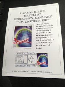 Canada International Philatelic Exhibition Card 1987 Kobenhavn/Danmark IPE#10