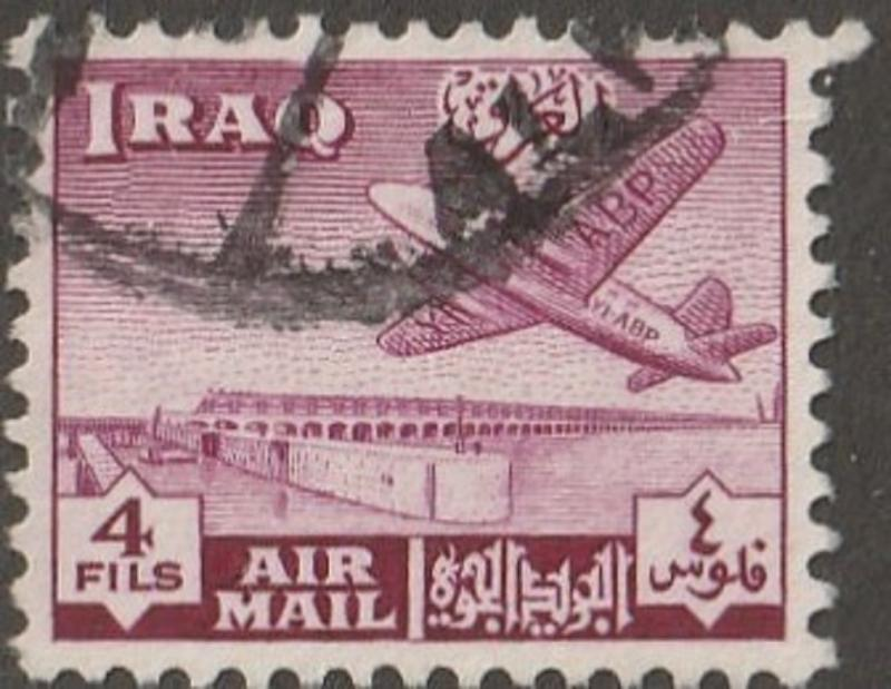 IRAQ stamp, Scott# C-2  used, Airmail stamp, airplane, 4f red/violet  #c-2
