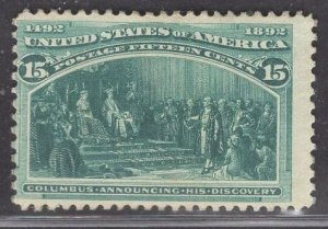 US Stamp #238 15c Dark Green Columbus Announcing Discovery MINT HINGED SCV $2...