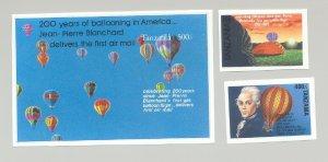 Tanzania #1081-1083 Balloons 2v & 1v S/S Imperf Proofs