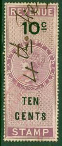 STRAITS SETTLEMENTS 1878 10c QV Revenue 13mm CENTS Bft 3B VFU