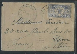 NEW HEBRIDES COVER (PP1211B)  1931M5D/50C SINGLE FRANK COVER TO FRANCE