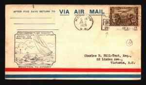 Canada 1929 FFC - Moncton to Sydney - Z16724