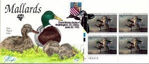Rare Pugh Designed/Painted Mallards Plate Blk of 4 FDC.. 2 of  Only 4 created!