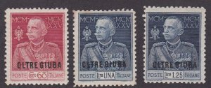 Oltre Giuba # 21-23, Victor Emanuel, Hinged, one stamp has stains 1/2 Cat.